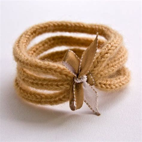 no pattern in french french knitted wool bracelet with ribbon inspiration
