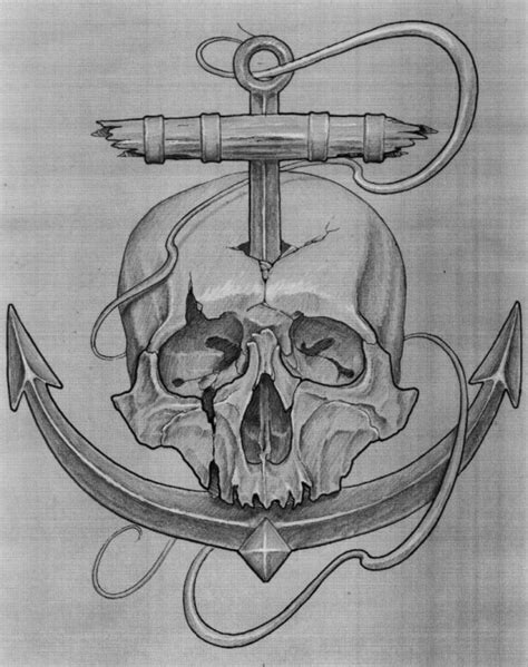 skull and anchor tattoo design bohemian tattoo 1731