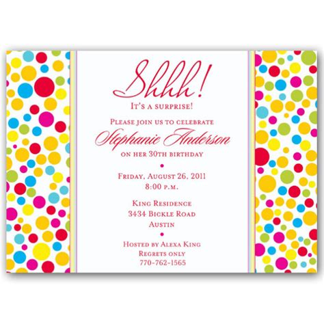 free printable birthday lunch invitations colorful dots red surprise birthday invitations paperstyle