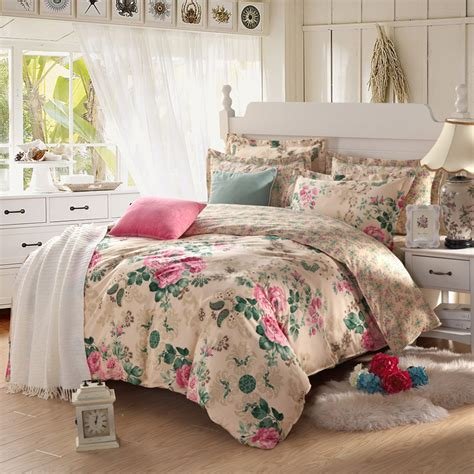 High Quality Pastoral Style Beige Floral 100 Cotton High Bed Set