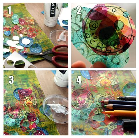 How To Make A Collage With Paper - how to create tissue paper collage peony and parakeet