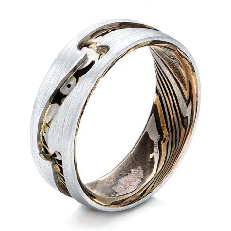 mens custom wedding rings custom s platinum and mokume wedding band 102032