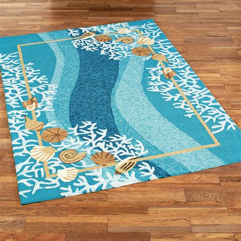 Coastal Outdoor Rugs Shells And White Coral Coastal Indoor Outdoor Rugs