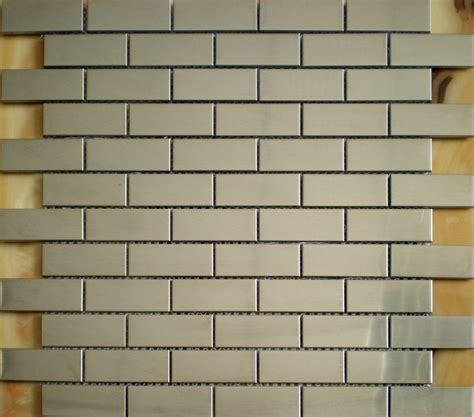brushed silver metallic mosaic tile smmt028 stainless