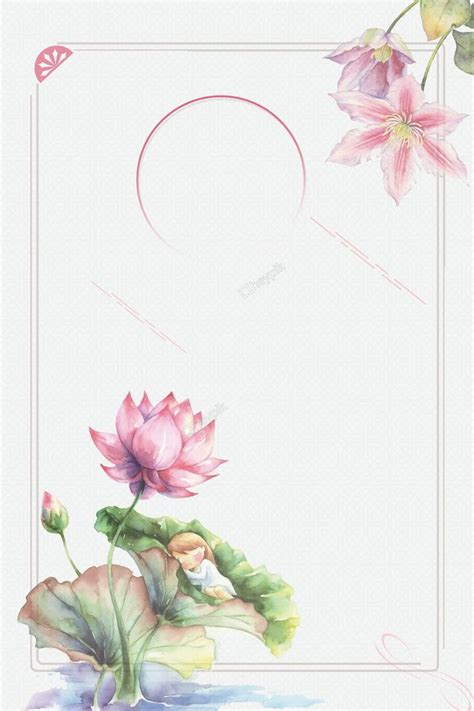 ancient style painted lotus border poster background