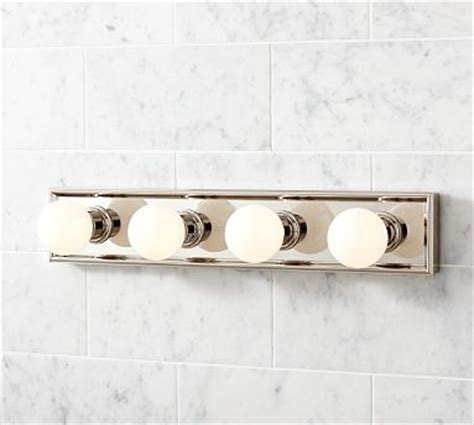 Traditional Vanity Lights Mercer Vanity 4 Bulb Light Panel Polished Nickel Finish Traditional Bathroom Vanity