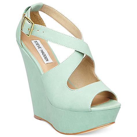 mint green sandals steve madden external wedge sandals in green mint lyst