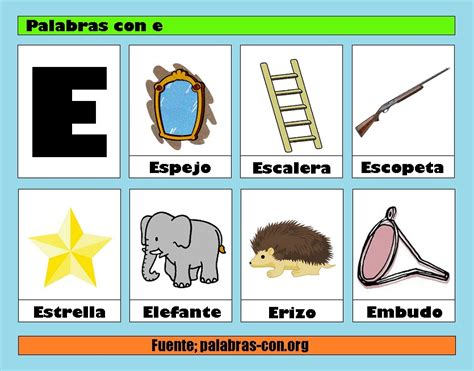 imagenes de palabras que empiezan con e palabras con la letra e e ejemplos de palabras con e