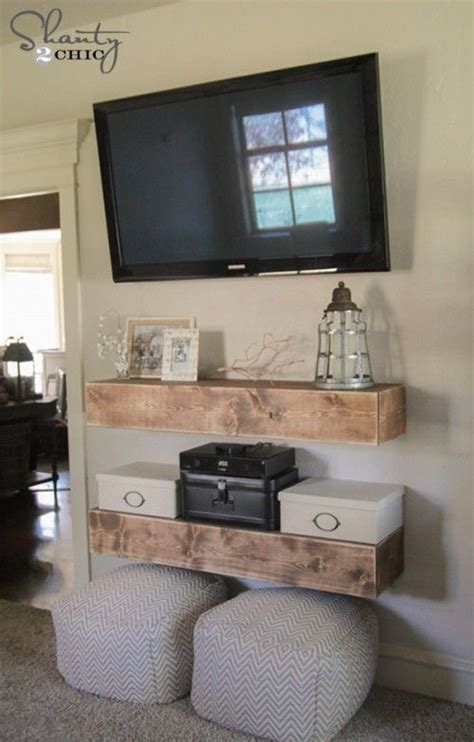 bedroom tv shelf diy media shelves floating media shelf woodworking