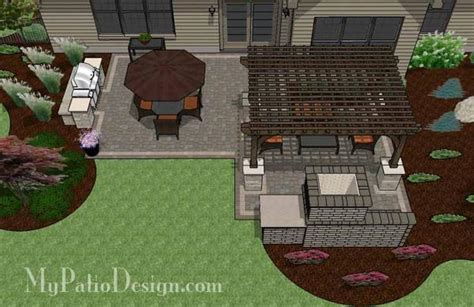 Patio With Grill Design by Simple Patio Design With Pergola Fireplace And Grill