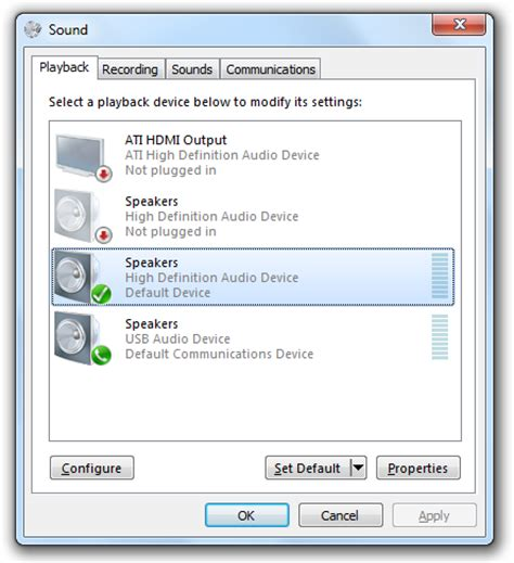 windows 7 sounds playback devices and sapi5 claro software support