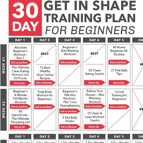 30 day get in shape plan for beginners calendar