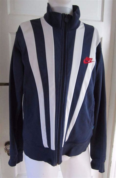 Sweaterjaket Nike vintage nike track records since 71 striped zip up sweater jacket mens l ebay