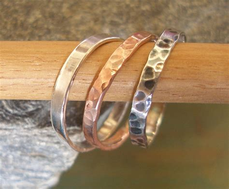 3 stackable rings in silver and copper