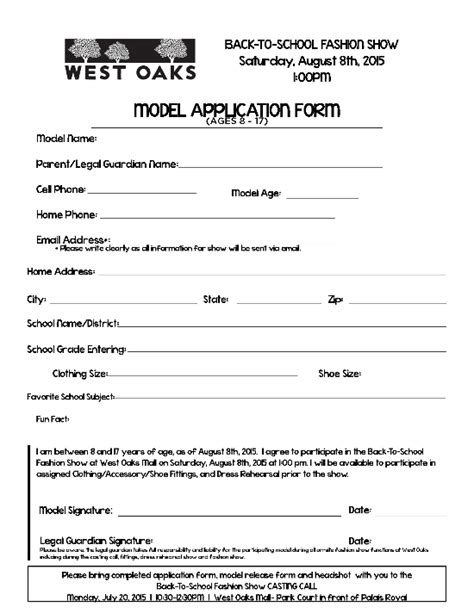 fashion model application form template fashion model application fashion today