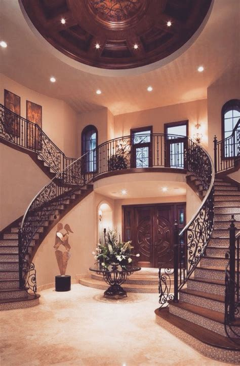 dream house interiors twin staircase design is a classic that never fails in the grand mediterranean