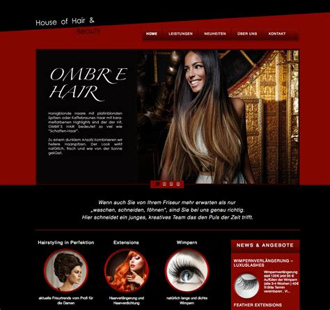 house of hair design webseite house of hair and beauty elvira beck design