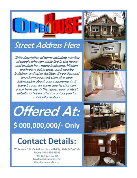 free download open house real estate photoshop flyer template