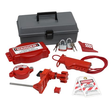 brady valve lockout toolbox kit with steel padlocks and