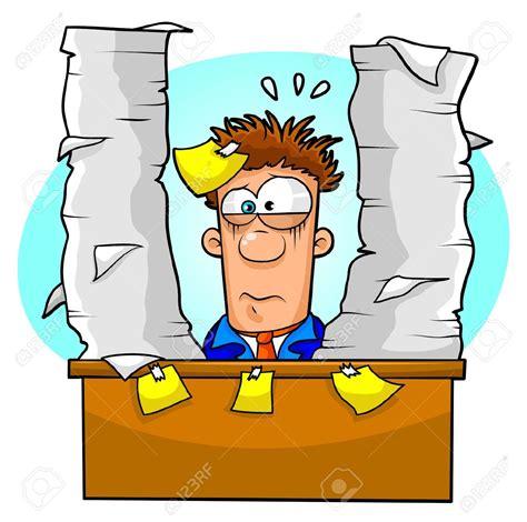 overwhelmed office worker clipart