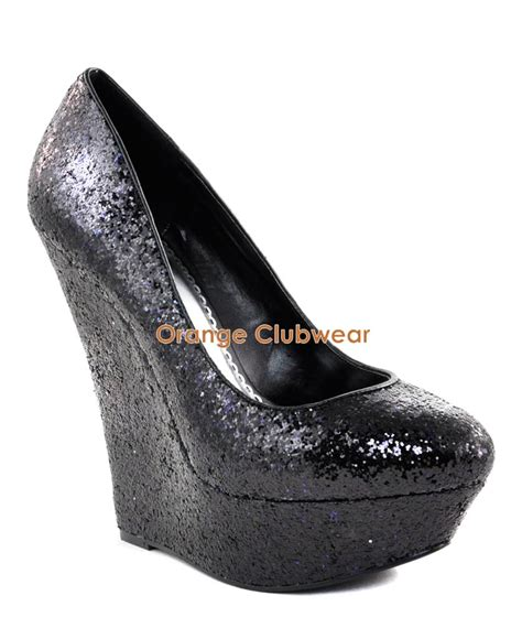 pleaser womens black glitter wedges 6 034 high heels