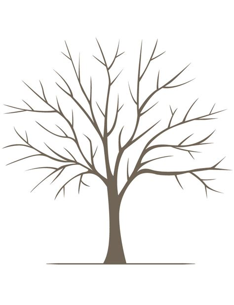 tree template without leaves diy fingerprint tree poster instant large