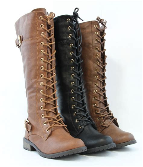 womans lace up boots knee high lace up fashion combat boots