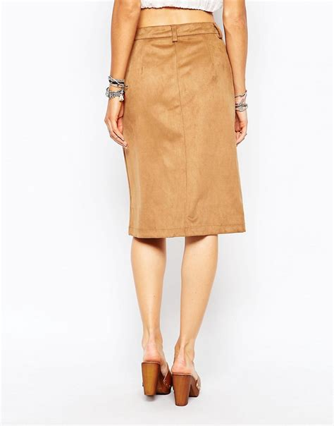 glamorous glamorous faux suede a line midi skirt with