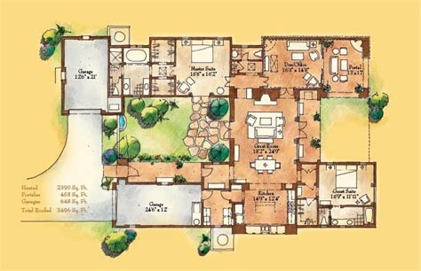 Adobe House Plans With Courtyard | adobe style home with courtyard santa fe style meets