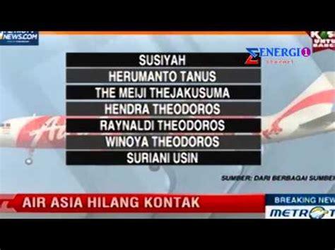 air asia nomor daftar nama penumpang airasia nomor penerbangan qz8501
