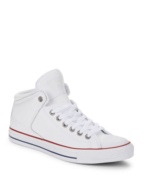 all white mens sneakers converse all leather sneakers in white for lyst
