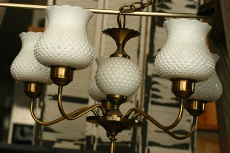 Hobnail Milk Glass Chandelier Vintage Retro 1940s1950s Hobnail Milk Glass Light Chandelier