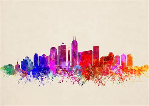 Home Decor Indianapolis by Indianapolis Skyline Abstract Digital Art By Dave Lee