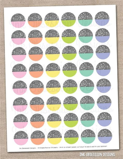printable silver stickers silver glitter circles printable planner stickers instant