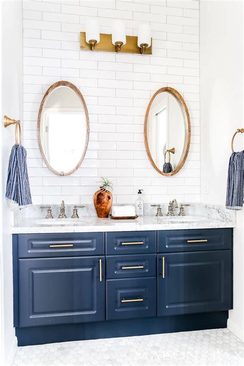 navy  white bathroom makeover maison de pax