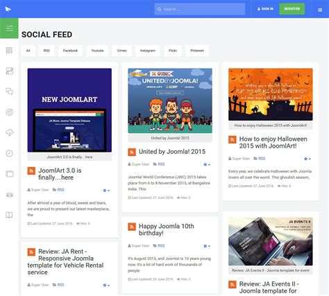 rss feed template build a social or rss feed site with joomla in easy steps