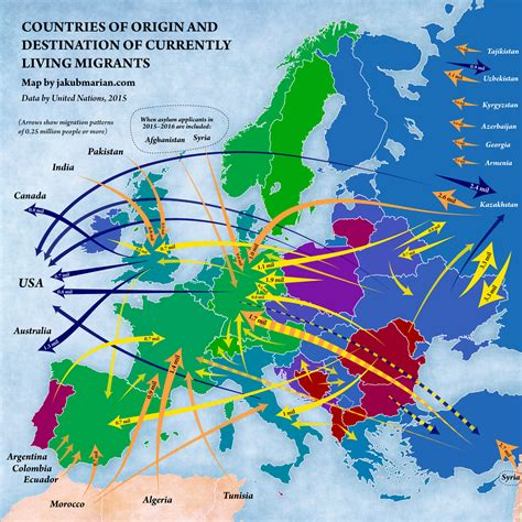 migration map countries of origin and destination of currently living migrants 1600x1600 mapporn
