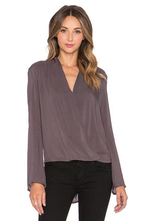 Maxilipat Polos Katun Rayon L No Belt shop blaque label wrap blouse in charcoal at modalist