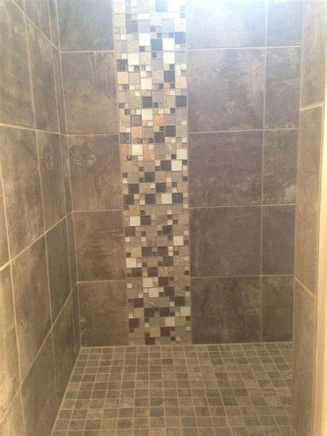 bathroom tile vertical stripe custom tile shower in a porcelain slate looking tile with