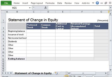 Statement Of Change in Equity Template For Excel