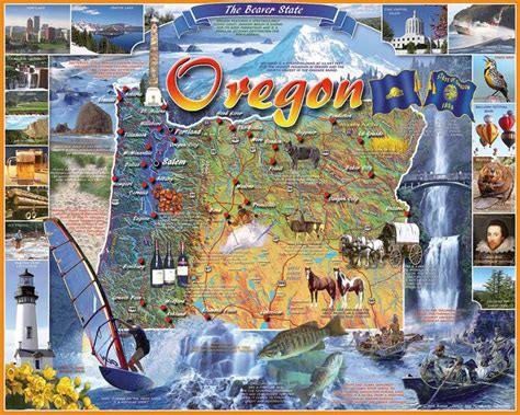map of oregon landmarks oregon state map jigsaw puzzle puzzlewarehouse