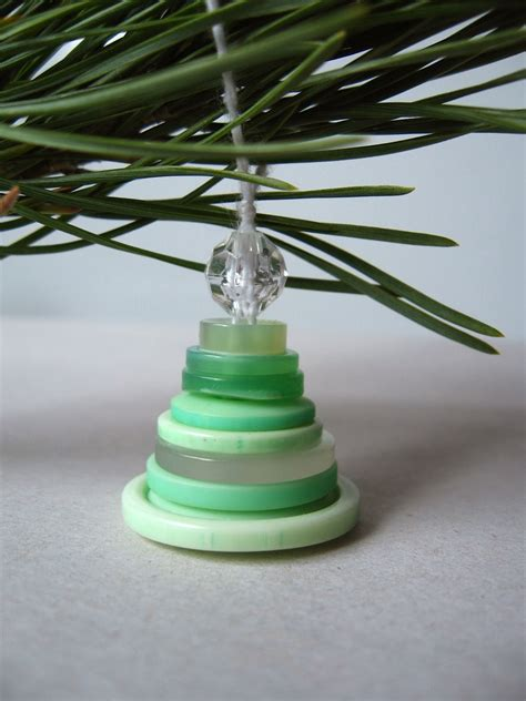 Button Tree Decoration by Roots Of Simplicity Stacked Button Tree Ornaments