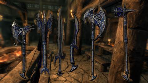 skyrim daedric armor and weapons daedric blue weapons at skyrim special edition nexus