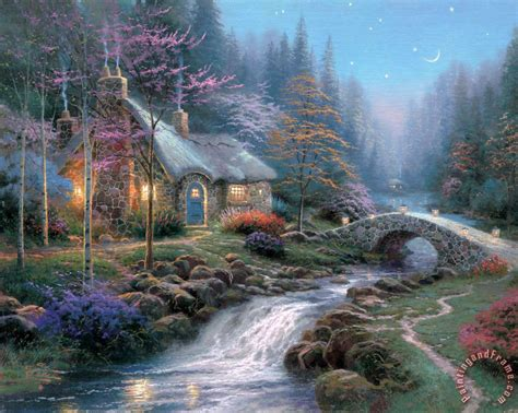 kinkade twilight cottage painting twilight