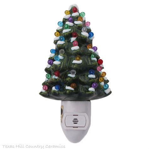 ceramic christmas tree with snow night light automatic on and