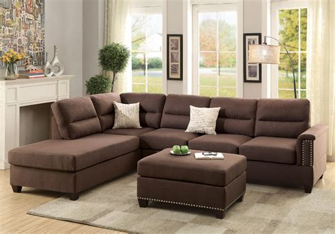 Reversible Sectional Sofa Chaise Modern Sectional Sofa Reversible Chaise Ottoman Trim Chocolate Polyfiber Ebay