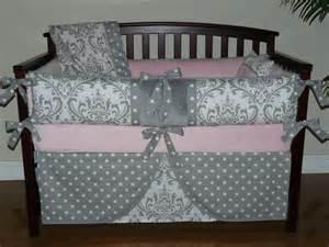 Light Gray Baby Crib Baby Bedding Light Pink Gray Damask Crib Bedding 5pc