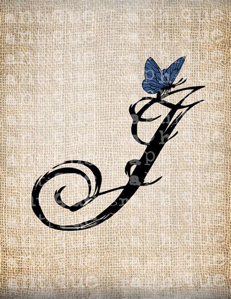 j up letter items similar to antique letter j script monogram with