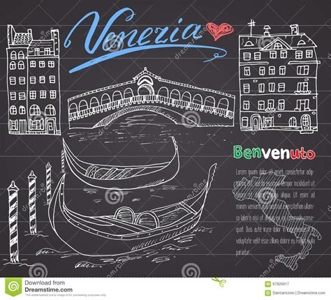 boat lettering venice venice italy sketch elements hand drawn set with flag