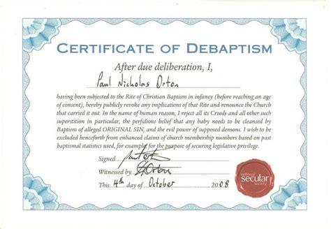 Certificate of Debaptism   Kale's blog